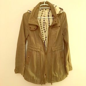 Tulle Army Green Military Anorak Style Jacket